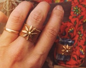 DLR-01, repurposed vintage brass daisy flower leather ring