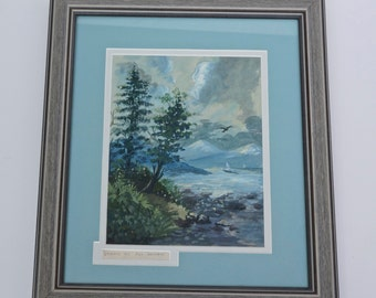 Antique Watercolor Painting  - Lake  Mountain Scene picture - art  - watercolour  No.00541