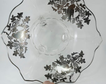 Silver Overlay Bowl. Glass Bird Bowl . No.0027 HS
