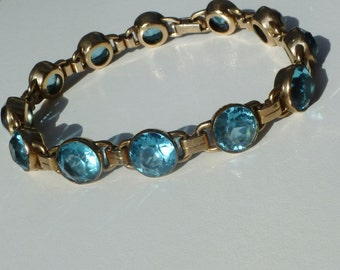 FREE SHIP Vintage Bracelet Beautiful Blue Glass Stones Gold Filled GF Tennis Raised