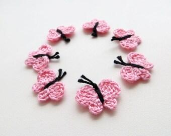 Crochet Butterfly, Butterfly Appliques, Tiny Small Cute Butterflies, Decorative Motifs, Soft Light Pale Pink, Set of 7