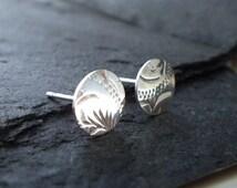 Sterling silver Stud Earrings. Antique Silver Stud Earrings. Circle Shape Silver Earrings. Engraved Silver Post Earrings.