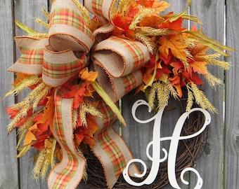 Harvest Time Wreath, Fall Wreath with Wheat, Burlap Wreath, Plaid Wreath, Monogram Wreath, Letter Wreath, Horn's Handmade, Etsy Wreath