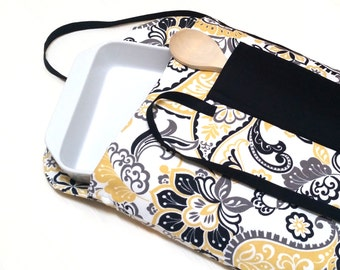 Yellow and Black Paisley Insulated Casserole Carrier--Ready to Ship