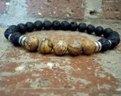 Strength / Men Wrist Mala / Yoga Bracelet / Men Bracelet / Yoga Jewelry / Mala Bracelet / Lava Wrist Mala /