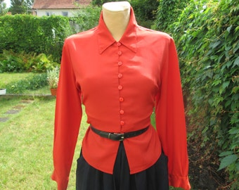 Buttoned Blouse / Blouse Vintage / Womens Blouse / Blouse Orange / EUR40 / 42 / UK12 / 14