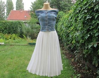 White Pleated Skirt / Skirt Vintage / Pleated Skirt / Pleated Skirts / Size EUR40 / UK12