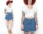 Button Front Denim Mini Skirt - Size L