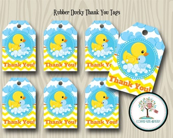 Rubber Duck Thank You Tags, Gift Tag, Favor Tag, Baby Shower, Birthay Party, Printable, Instant Download, Thank You, Tags, Rubber Ducky