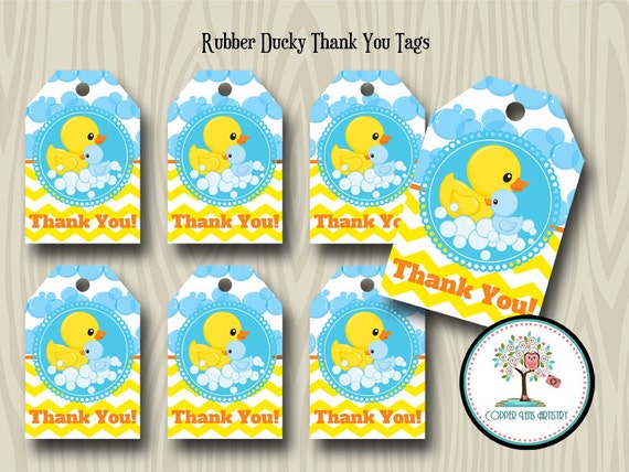 Rubber duck thank you tags gift tag favor tag baby shower birthay