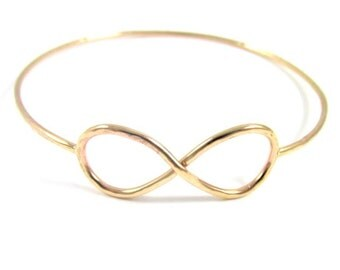 Infinity Symbol Bangle, Gold Hammered Bracelet, Forever, Friendship, Love, Anniversary Gift Idea, Bridesmaid, Bridal Jewelry, Handmade