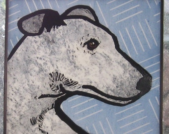 Greyhound  Stained glass Suncatcher JRN011