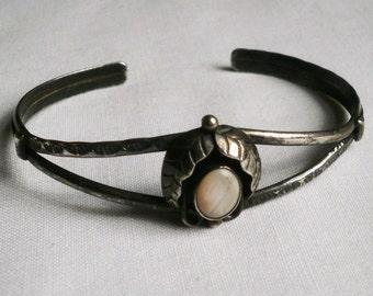 Vintage Sterling Silver Mother Of Pearl Cuff Bracelet