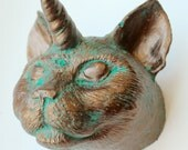 Cat Unicorn Wall Mount - Cat Wall Art - Cat Decor - Cat Unicorn Wall Decor- Bronze Cat Art