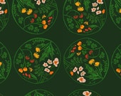 Tiger Lily Flower Wreaths in Green, Heather Ross, Windham Fabrics, 100% Cotton Fabric, 40928-2
