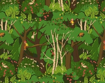 Tiger Lily Climbing Trees in Green, Heather Ross, Windham Fabrics, 100% Cotton Fabric, 40927-2