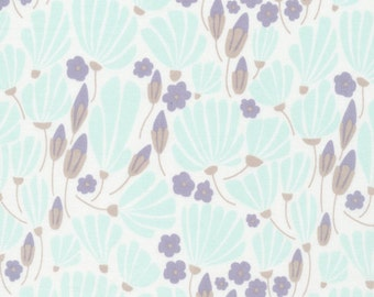 Fat Quarter Morning Song Breezy Floral in Turquoise, Elizabeth Olwen, 100% GOTS-Certified Organic Cotton, Cloud9 Fabrics, 129803