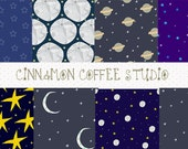 Moon and Stars Digital Papers, Night Sky Backgrounds, Moon with Stars Texture, Starry Texture set of 8