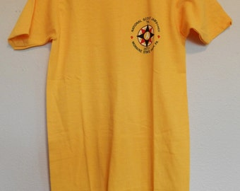vintage Boy Scouts T Shirt NOS 70s 1977 National Scout Jamboree Youth Medium Yellow tee Moraine State Park, PA 50/50