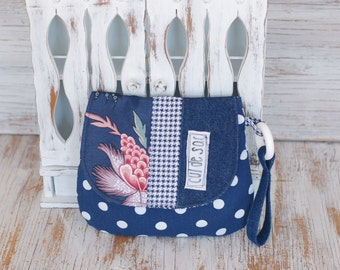 Eco-friendly wrislet or clutch with wrist strap and flap messenger style polka dots navy and white recycled fabric evening bag small bag