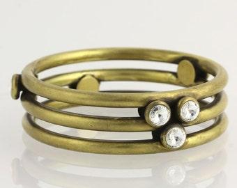 Bangle Bracelet - Bronze Swarovski Crystals Designer Fashion x7140