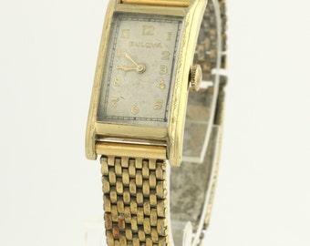 Bulova Women's Wristwatch - 10k Yellow Gold Filled Runs Mechanical Mesh Chain f5322