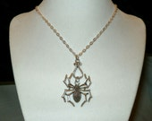 Halloween Spider Necklace, Halloween Jewelry, Spider Jewelry, Silver Spider Charm, Large Spider Charm Necklace