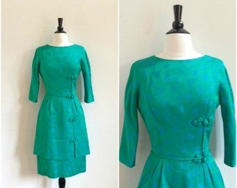 Vintage teal green and blue brocade dress / double layer skirt / turquoise cocktail dress / floral patterned structured dress
