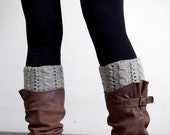Boot Cuffs Womens Boot Socks  Wool Boot Cuffs Hand knitted Cable light grey Wool Boot socks Cable Boot cuffs  Leg wear