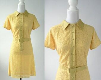 Vintage Style Dress, 1960 Style Dress, Yellow Lace Dress, 60s Yellow Lace Dress, 1960s Mod Dress, 60s Lace Mod Dress, Retro 60s Yellow Dress