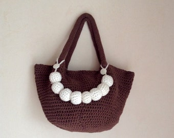 Crochet tote bag, brown crochet bag