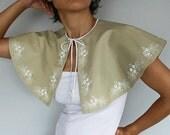 Bridal Cape, Jacket, Genuine Leather Wedding Bolero Capelet Shrug, Ecru Beige, Winter Fall Wedding Cloak, Lace Pearl Alternative Wedding