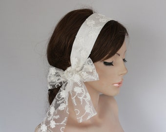 Weddings Hair Band with Butterfly Embroidered Tulle Tail: Lace Bridal Headband.Classic White Wedding
