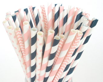 Navy and Pink Paper Straws Weddings Birthdays Bridal Shower Choose 25, 50 or 100 Paper Straws