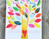 8 x 10 Whimsical Art Print Love GROWS Here Tree