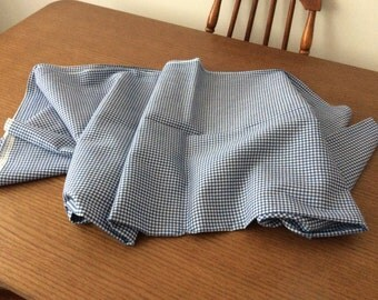 Vintage blue and white Gingham Fabric 3.5 Yards   35 inches wide selvage to selvage by 126 inches long