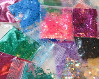 NEW!! Glitter GRAB BAG of 10 Glitter Sampler Set for Glitter Nail Art, Glitter Nail Polish and Glitter Crafts. Great Value!!