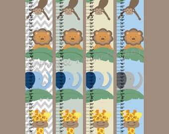 Safari Jungle Canvas Growth Chart