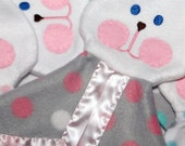 Fisher Price Puppet Bunny Blanket Replica in gray and pink polka dots