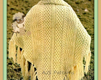PDF Knitting Pattern for a Ladies Aran Honeycomb & Cable Triangular Shawl - Instant Download