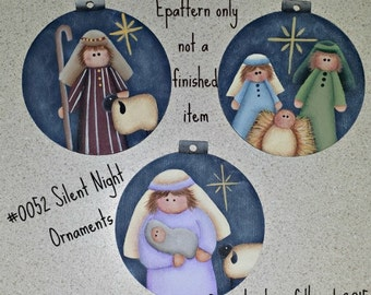 EPATTERN #0052 Silent Night Ornaments, paint your own, digital download, Christmas ornament, Nativity pattern, Holy Family, folk art,
