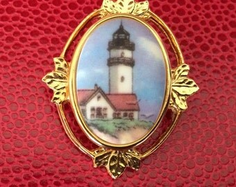 Cameo Style Light House Brooch