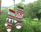 Knitting Pattern Holiday Stockings with Santas and Christmas trees (make your own) Fair Isle Stranded Instructions for Knit Holiday Sock