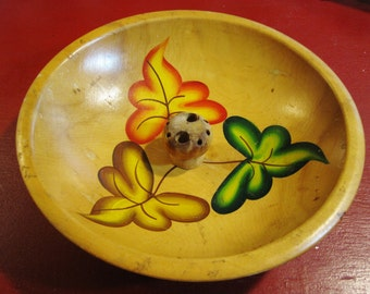 Vintage European Wooden Hand-Painted Footed Nut Bowl