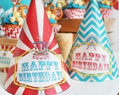 Vintage Carnival Party Hats - INSTANT DOWNLOAD - Printable Birthday Party Decorations by Sassaby Parties
