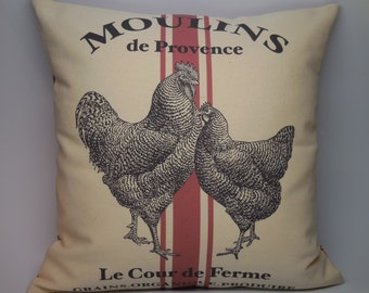 French Chicken Pillow, Red Stripe, Rustic French Farmhouse, Grain sack, Shabby Chic, INSERT INCLUDED