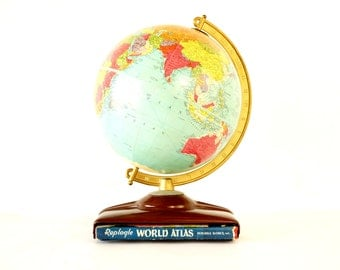 "Vintage Replogle Reference World Globe with Atlas, 10"" diameter (c.1954) - Hard to Find Collectible, Home Decor"