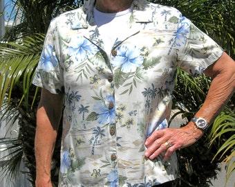 SUMMER SALE Tropical Breeze, short-sleeved blouse/shirt, sz M