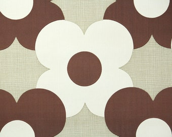Retro Wallpaper by the Yard 70s Vintage Wallpaper - 1970s Brown and White Mod Geometric Floral