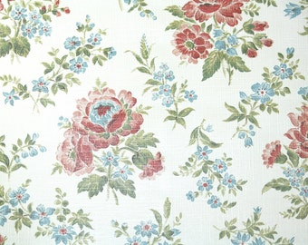 Retro Wallpaper by the Yard 70s Vintage Wallpaper - 1970s Pink and Blue Floral Bouquets on White